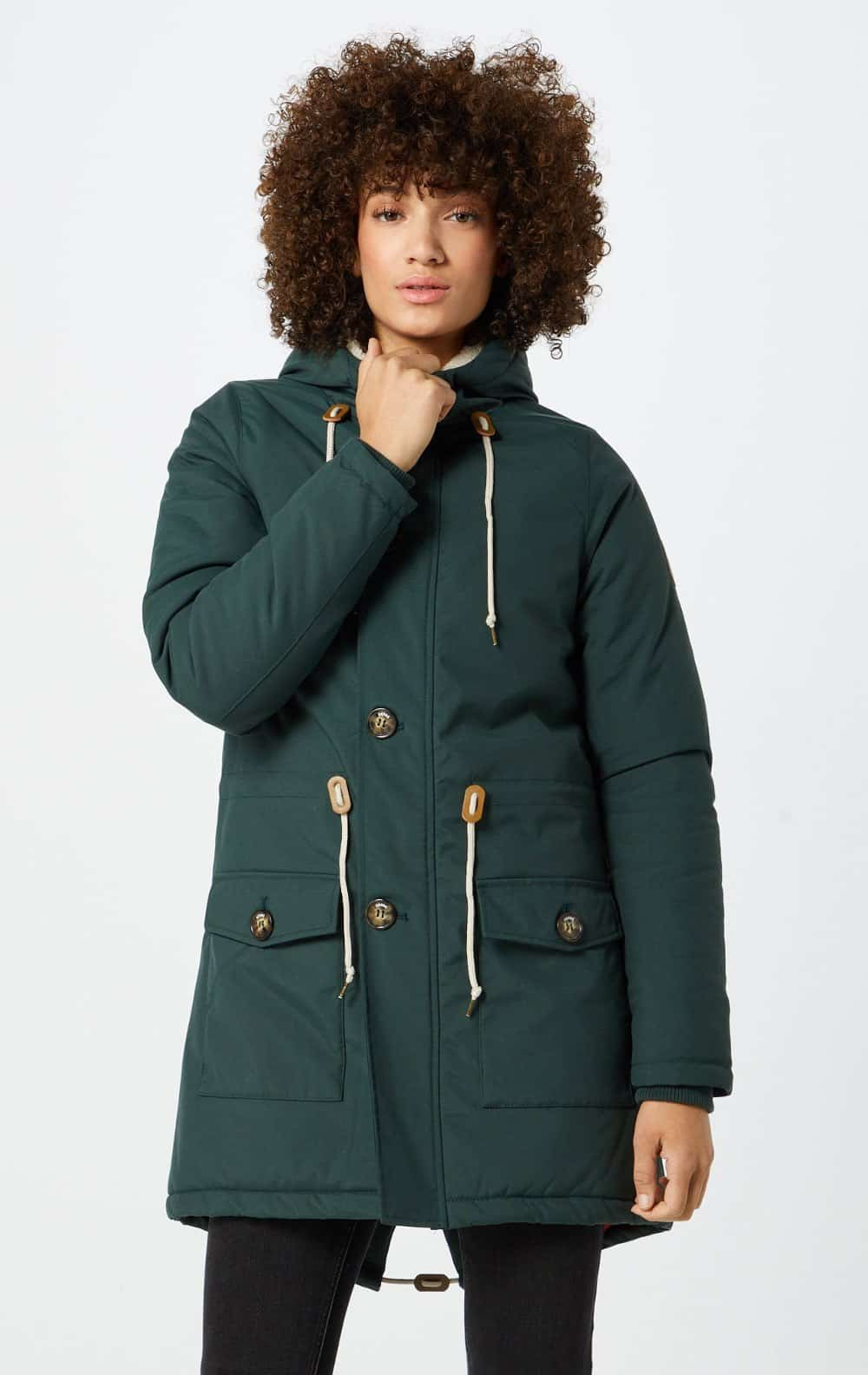 Damen Winter Parka Derbe Festland Friese grün