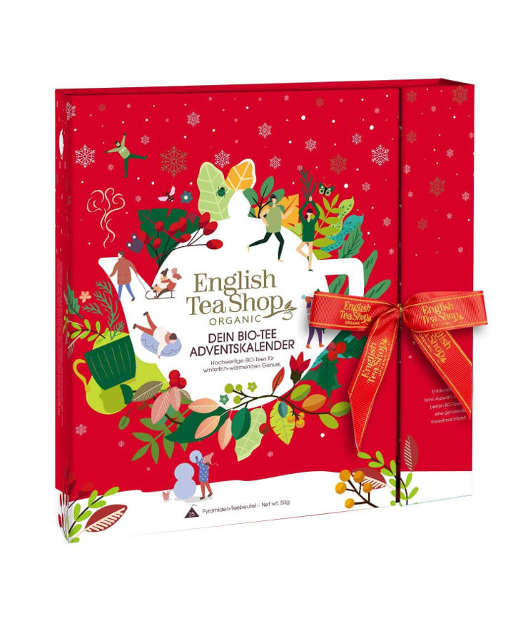 "English Tea Shop Premium Tee Adventskalender mit Schleife ""Red Christmas"""