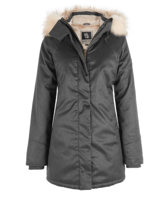 Hemp Hoodlamb Jacke Ladies Nordic Parka grey