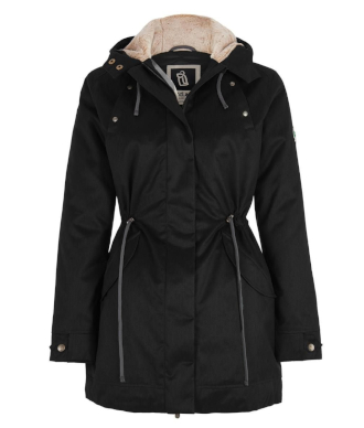 Hemp Hoodlamb Jacke Ladies Nordic Parka lights black