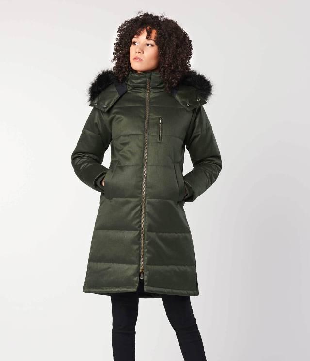 Hemp Hoodlamb Mantel Nordic Puffer Frauen grün