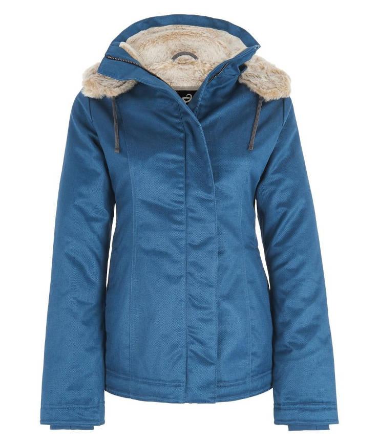 Hemp Hoodlamb Winterjacke Ladies Classic Hoodlamb Ocean Blue