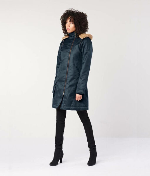 Hemp Hoodlamb Wintermantel Ladies Long Coat midnight blue