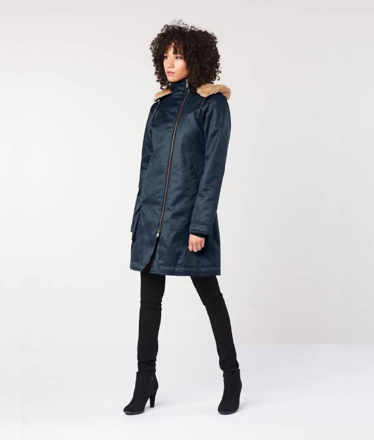 Hemp Hoodlamb Wintermantel Ladies Long Coat midnight blue