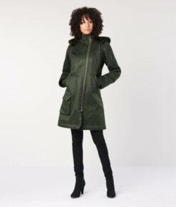 Hemp Hoodlamb Winterparka Ladies Long Coat deep army green