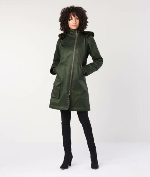 Hemp Hoodlamb Winterparka Ladies Long Coat deep army green