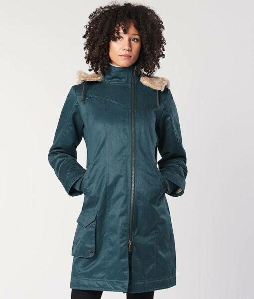 Hemp Hoodlamb Winterjacke Ladies Long Coat Sky Blue