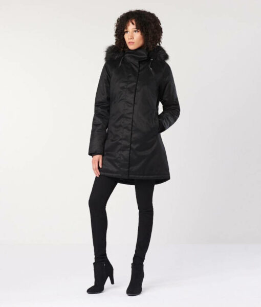 Hemp Hoodlamb Winterparka Ladies Nordic Nightwatch black
