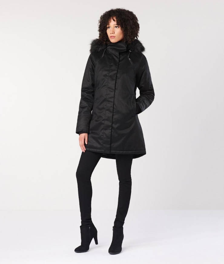 Hemp Hoodlamb Winterparka Ladies Nordic Nightwatch black