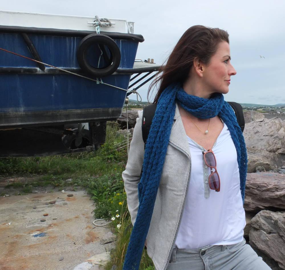 HempAge Tuch Lulu in sea und Bikerjacke Thelma