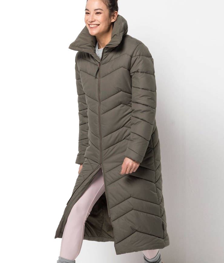 Jack Wolfskin Kyoto Long Coat Wintermantel Damen olivgrün