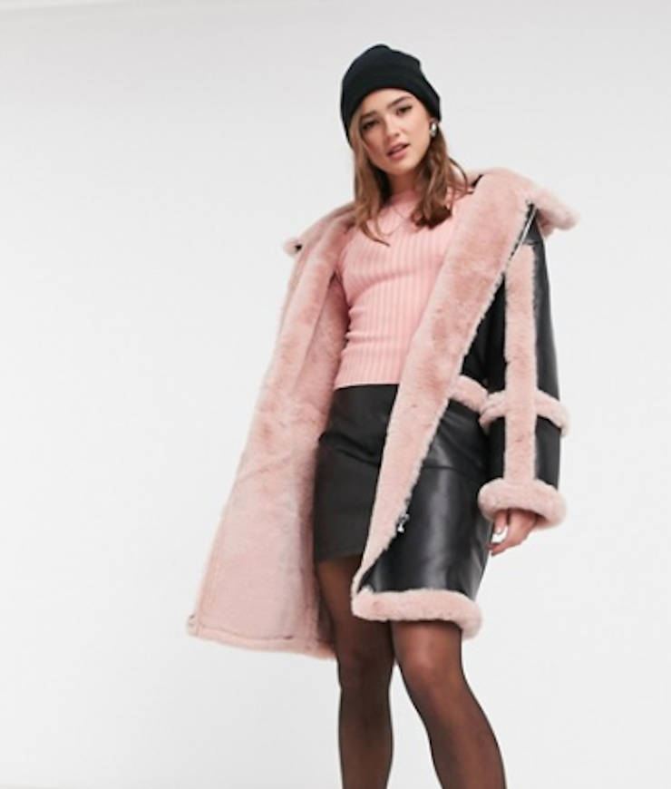 "jakke ""Azala"" Oversize-Kunstledermantel mit rosafarbenem Kunstpelzbesatz"