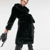 jakke langer schwarzer Kunstpelz-Mantel aus recyceltem Polyester