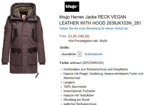 khujo Herren Jacke RECK VEGAN LEATHER WITH HOOD