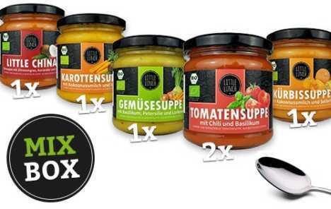 Veggiebox mit 6 veganen Suppen von littlelunch für 9,90 statt 22,50 Euro