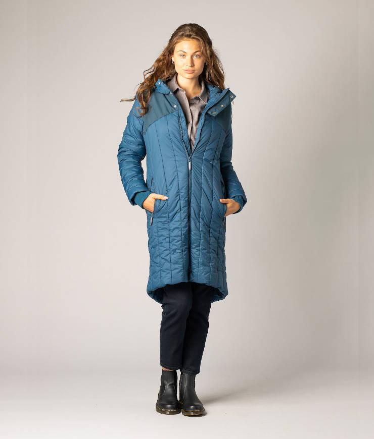 ThokkThokk Wintermantel Kapok Coat Ink Blue/Stripes