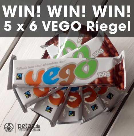 Gewinnspiel: Vegane VEGO Schokoriegel bei peta2.de gewinnen