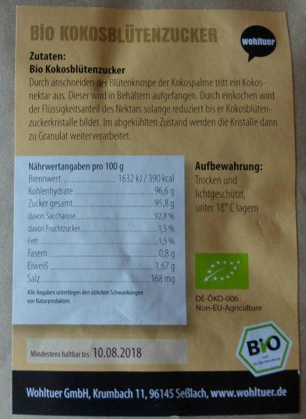Wohltuer Kokosblütenzucker 1000g